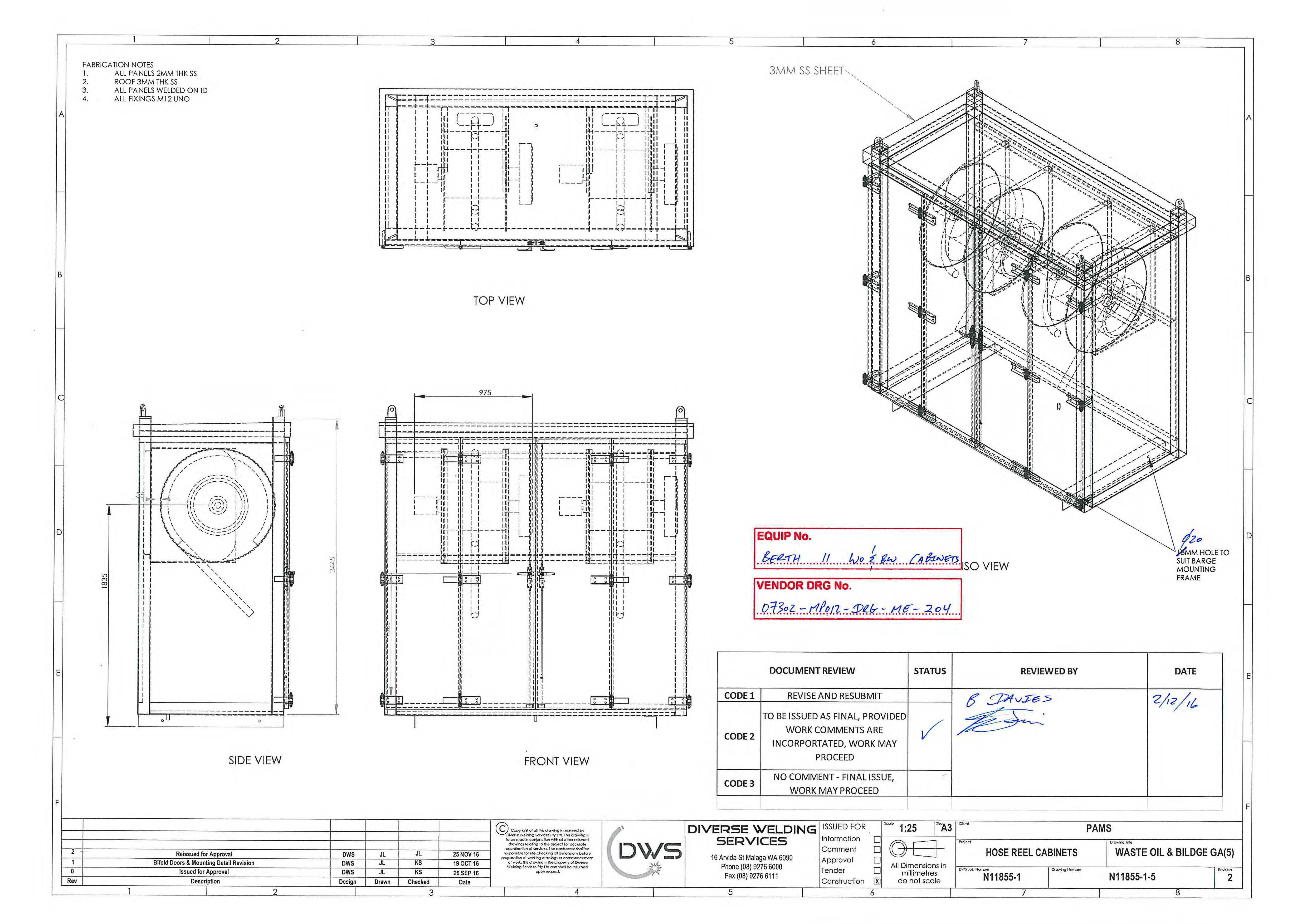 Waste Oil and Bilge Water Cabinet Drawing